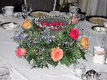 Centerpiece of Floating Flower Candles in Silver Edge Bowl, Roses...