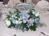 Centerpiece of Floating Candles in Silver Edge Bowl, Iris, Orchids, Roses...