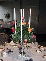 Silver Candelabra, 22 in. Tapers, Roses...