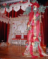 Indian Mandap, Silks, Roses, Eucalyptus