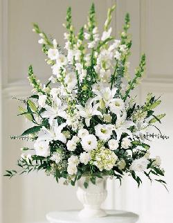 All White Floral Arrangement in Urn, Lilies, Roses, Hydrangea...