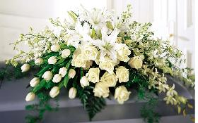 All White Casket Spray, Roses, Tulips, Lilies, Dendrobium Orchids...